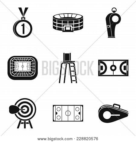 Sport Playground Icons Set. Simple Set Of 9 Sport Playground Vector Icons For Web Isolated On White