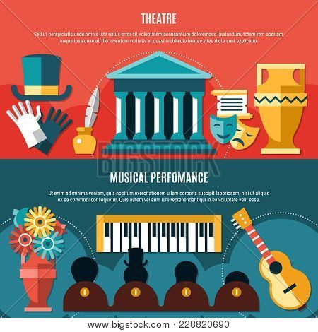 Two Theatre Horizontal Banner Set With Musical Performance Headline And Theater Building Vector Illu