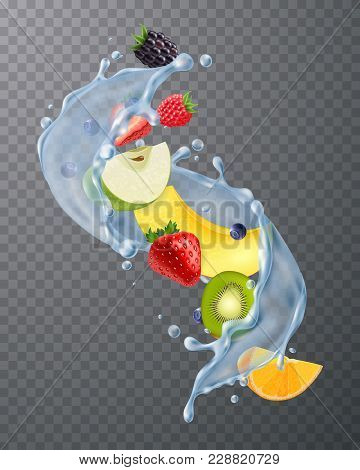 Realistic Water Splash With Fresh Strawberries Blackberries Melon Kiwi Fruit Segments On Dark Transp