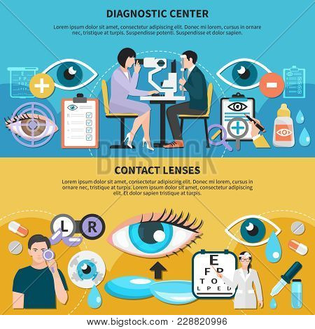 Ophthalmologist Diagnostic Center With Optometrist Examining Patient Eyes And Contact Lenses Use Car