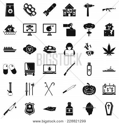 Cruelty Icons Set. Simple Set Of 36 Cruelty Vector Icons For Web Isolated On White Background