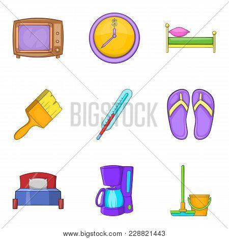 Foster Home Icons Set. Cartoon Set Of 9 Foster Home Vector Icons For Web Isolated On White Backgroun
