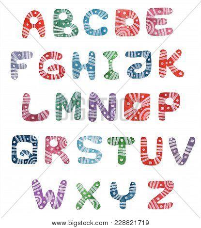Colorful Watercolor Alphabet Letters. Watercolor Colorful Font. Watercolor Letters Isolated. Rainbow