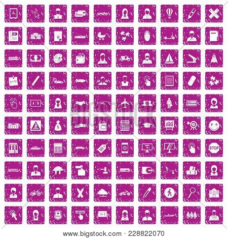 100 Initiation Icons Set In Grunge Style Pink Color Isolated On White Background Vector Illustration