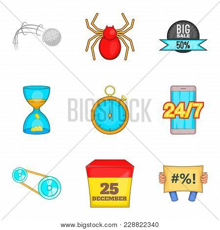 Moment Icons Set. Cartoon Set Of 9 Moment Vector Icons For Web Isolated On White Background