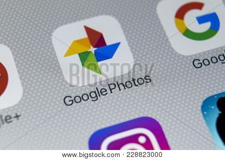 Sankt-petersburg, Russia, February 28, 2018: Google Photos Plus Application Icon On Apple Iphone X S