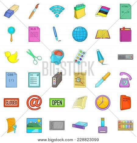 Organization Icons Set. Cartoon Set Of 36 Organization Vector Icons For Web Isolated On White Backgr