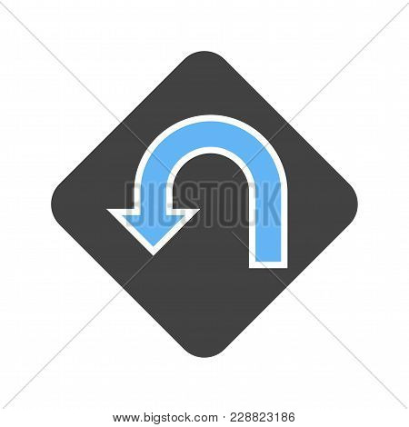 U Turn, Road, Highway Icon  Image. Can Also Be Used For Transport, Transportation And Travel. Suitab