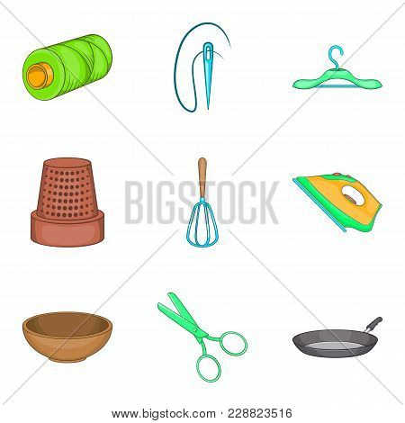 Routine Homework Icons Set. Cartoon Set Of 9 Routine Homework Vector Icons For Web Isolated On White