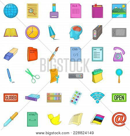 Commercial Relation Icons Set. Cartoon Set Of 36 Commercial Relation Vector Icons For Web Isolated O
