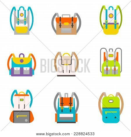 Pupil S Colorful Backpacks Set. School Tourist Multicolored Backpacks In A Flat Style Isolated On Wh