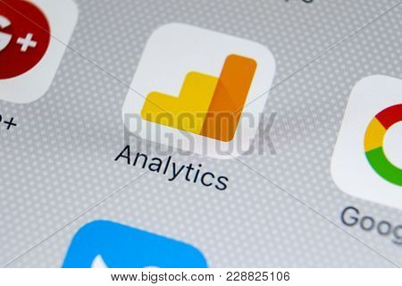 Sankt-petersburg, Russia, February 28, 2018: Google Analytics Application Icon On Apple Iphone X Scr