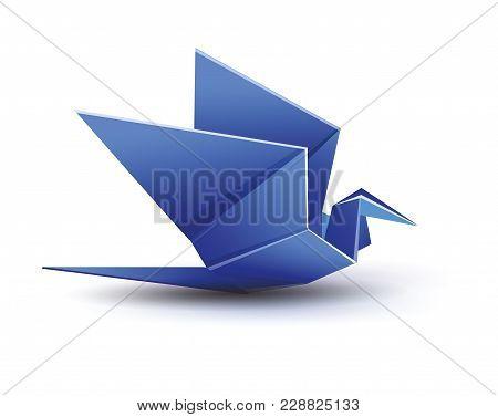 Origami. Origami Crane. Blue Origami Crane. Blue Paper Origami Crane. Paper Crane. Vector Illustrati