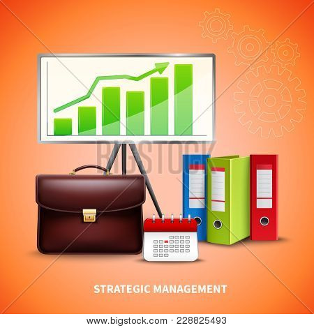 Realistic Strategic Management Business Concept With Tools For Planning On Bright Background Vector