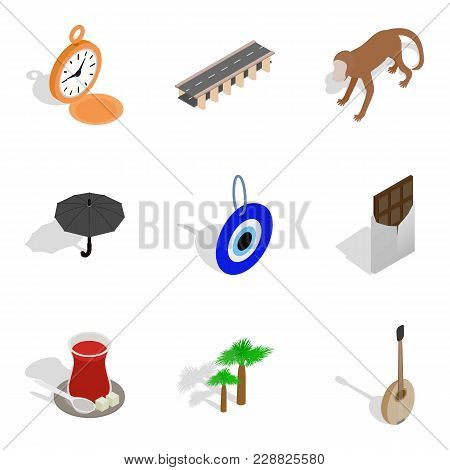 Paradise Trip Icons Set. Isometric Set Of 9 Paradise Trip Vector Icons For Web Isolated On White Bac