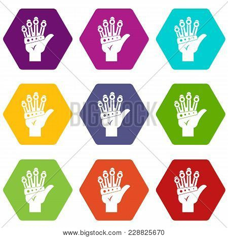 Vr Manipulator Icon Set Many Color Hexahedron Isolated On White Vector Illustration
