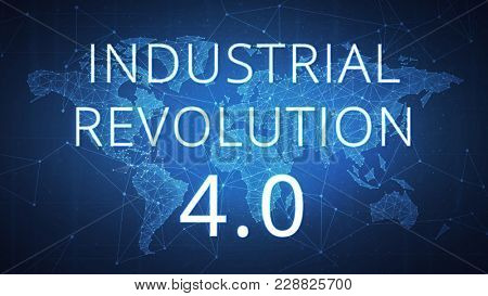 Fourth industrial revolution on futuristic hud background with world map and blockchain polygon peer to peer network. Industrial revolution and global cryptocurrency blockchain business banner concept
