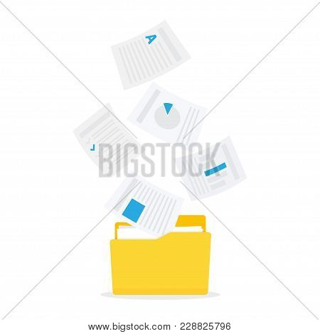 Move File Into Folder. Technology Streaming Into File Folders. Vector Illustration