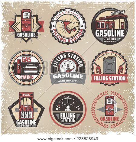 Vintage Colored Filling Station Labels Set With Gasoline Pumps Canister Fuel Gauge Car Refilling Pet