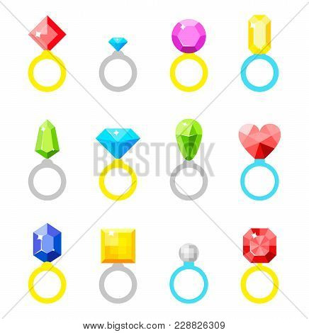 A Ring With A Diamond. Wedding Ring. Simple Flat Symbol. Jewelry Icons Set.