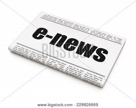 News Concept: Newspaper Headline E-news On White Background, 3d Rendering