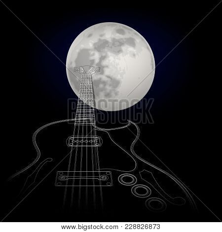 Vector Illustration - Guitar On A Background Of The Moon