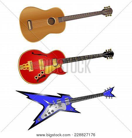 Stock Vector - Acoustic Guitar, Jazz Guitar And Electric Rock Guitar
