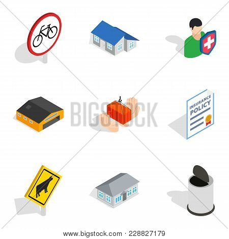 Civic Icons Set. Isometric Set Of 9 Civic Vector Icons For Web Isolated On White Background