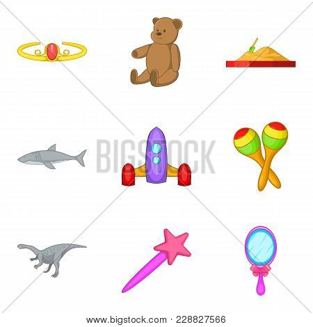 Soft Toy Icons Set. Cartoon Set Of 9 Soft Toy Vector Icons For Web Isolated On White Background