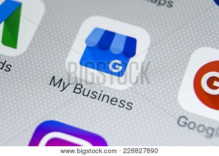 Sankt-petersburg, Russia, February 28, 2018: Google My Business Application Icon On Apple Iphone X S