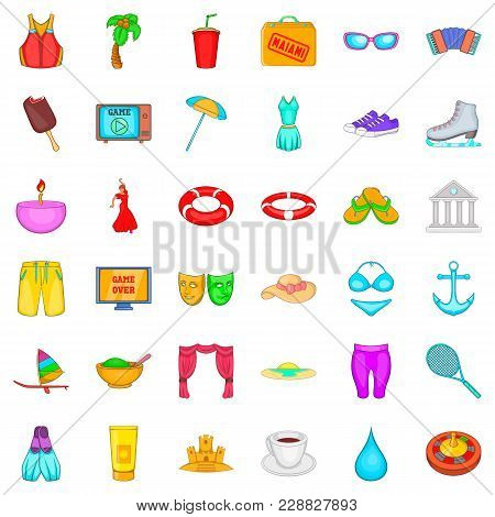 New Trip Icons Set. Cartoon Set Of 36 New Trip Vector Icons For Web Isolated On White Background