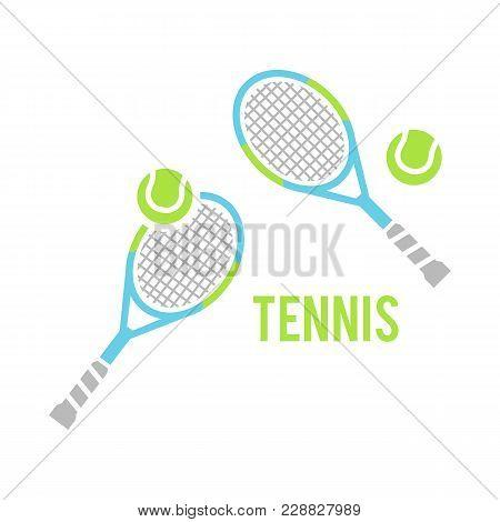 Tennis Balls And Tennis Racquet, Vector Illustration. Sports, Fitness, Activity Vector Design. Cross