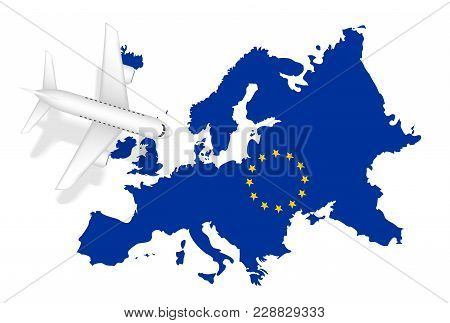 Airplane Flight Travel To Europe On Europe Map