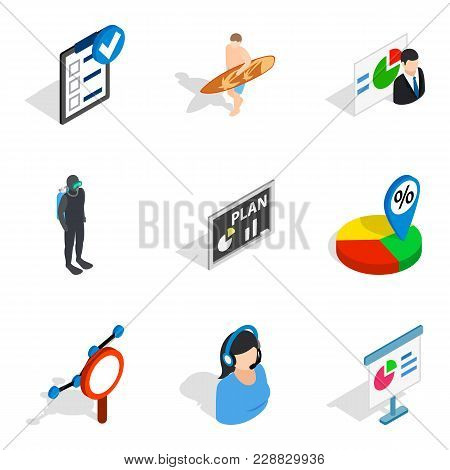 Company Specialist Icons Set. Isometric Set Of 9 Company Specialist Vector Icons For Web Isolated On