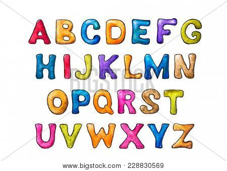 Colorful watercolor letters on a white background