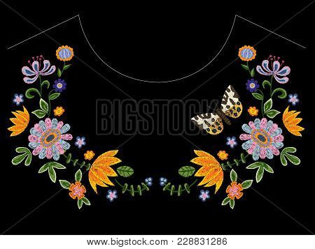 Embroidery Neckline Pattern With Butterfly And Flowers. Vector Embroidered Floral Design For Fashion