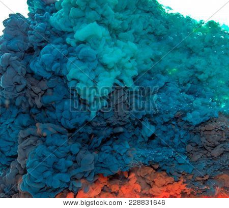 Abstract Paint Background Multi Colored Ink Splash In The Water Isolated On White Background