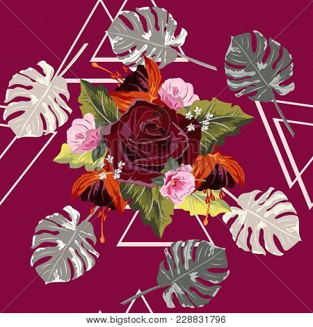 Tropical Seamless Floral Pattern With Leaves Monstera And Burgundy Rose. Floral Background For Print