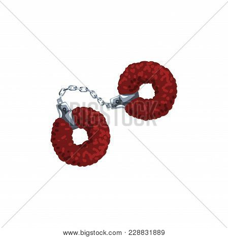 Furry Red Handcuffs, Fetish Stuff For Role Playing And Bdsm Vector Illustration Isolated On A White