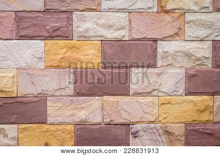 Background Of Decorate Sand Stone Wall Surface