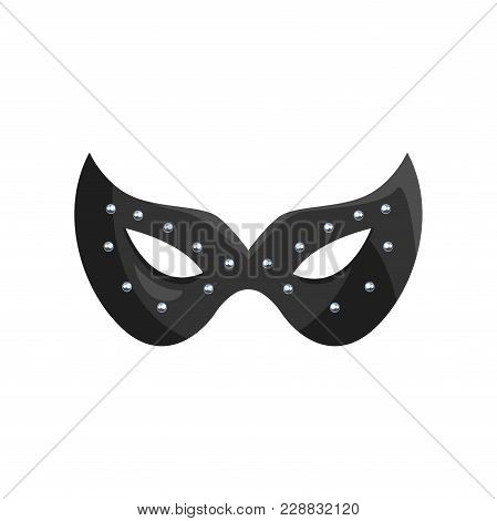 Black Leather Mask, Fetish Stuff For Role Playing And Bdsm Vector Illustration Isolated On A White B