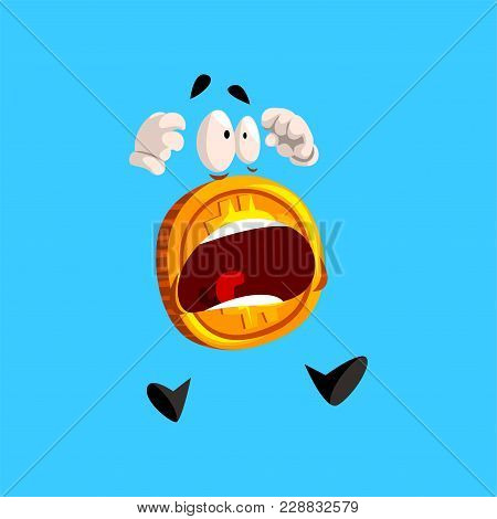 Frightened Bitcoin Character Screaming, Funny Crypto Currency Emoticon Vector Illustration Isolated