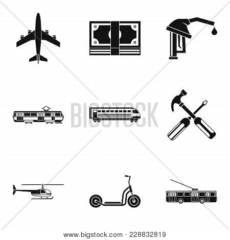 New Vehicles Icons Set. Simple Set Of 9 New Vehicles Vector Icons For Web Isolated On White Backgrou