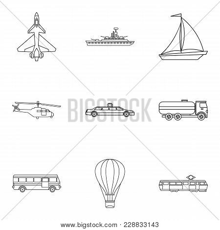 Passenger Vehicle Icons Set. Outline Set Of 9 Passenger Vehicle Vector Icons For Web Isolated On Whi