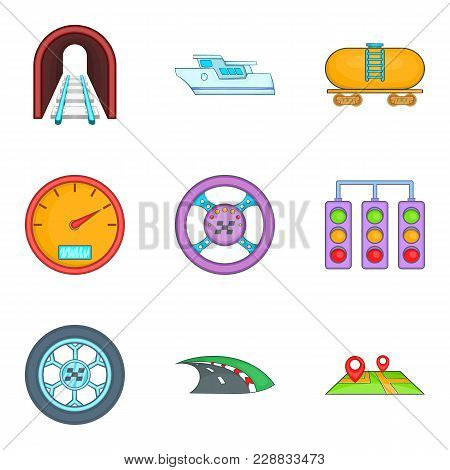 Passenger Transport Icons Set. Cartoon Set Of 9 Passenger Transport Vector Icons For Web Isolated On