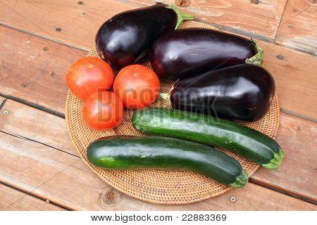 Eggplant, Tomatoes And Zucchini