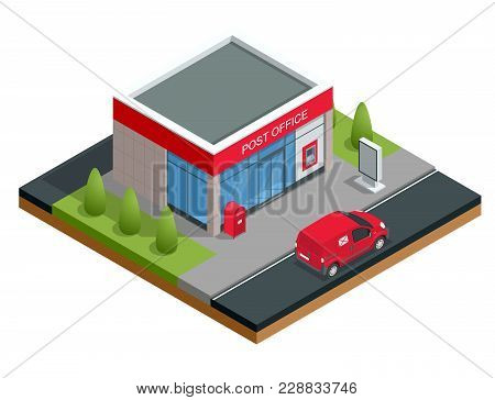 Isometric Building Of Post Office And Post Car. Correspondence Isolated Vector Illustration.