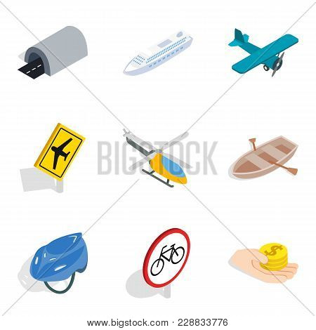 Passenger Motor Transport Icons Set. Isometric Set Of 9 Passenger Motor Transport Vector Icons For W