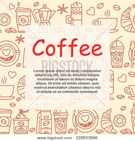 Coffee Icons Seamless Pattern. Hot Drinks Flat Line Icons - Coffeemaker Machine, Beans, Cup, Grinder