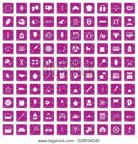 100 Libra Icons Set In Grunge Style Pink Color Isolated On White Background Vector Illustration